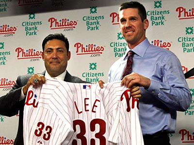 Newly acquired starter Cliff Lee was introduced today at Citizens Bank Park. (Laurence Kesterson/Staff Photographer)