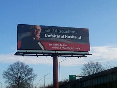 An extra-marital dating Web site put up this billboard monument to Newt Gingrich, the former house speaker and current GOP presidential frontrunner, which is located, for reasons known only to them, on Route 1 in Bucks County.
