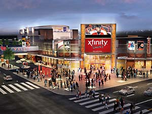 Artist´s rendering of the new Xfinity Live! entertainment complex as seen from the street.