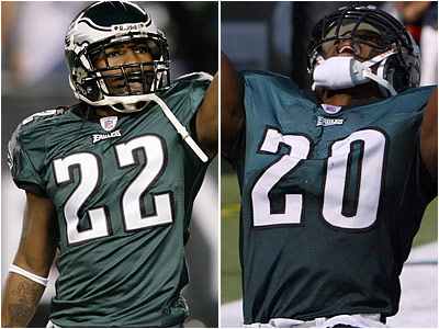 Asante Samuel (left) and Brian Dawkins (right) will represent the Eagles on the NFC Pro Bowl team.