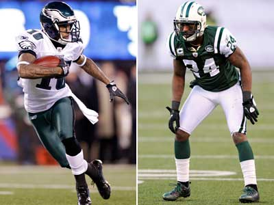 Darrell Revis will most likely be locked on DeSean Jackson when the Eagles take on the Jets this Sunday. (AP Photos)