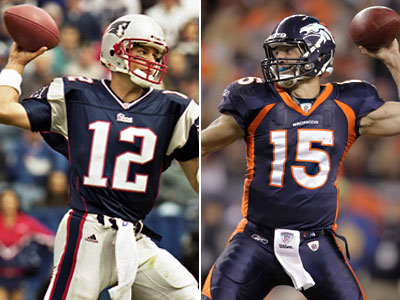 Tom Brady and Tim Tebow will face off this Sunday in Denver when the Broncos take on the Patriots. (AP Photos)