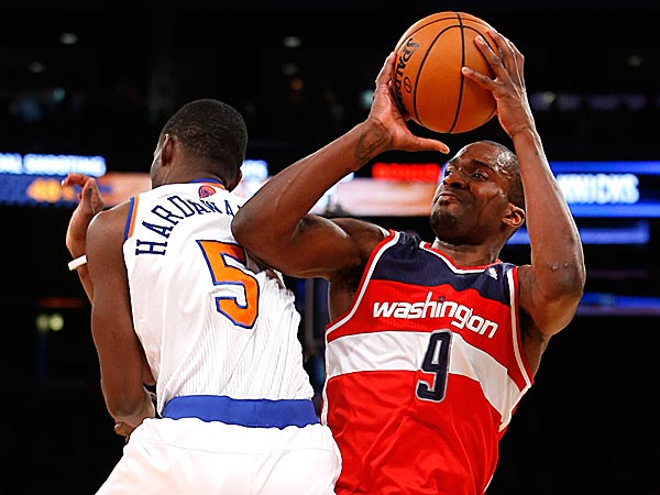 The Wizards´ Martell Webster shoots against the Knicks´ Tim Hardaway Jr. (Jason DeCrow/AP)