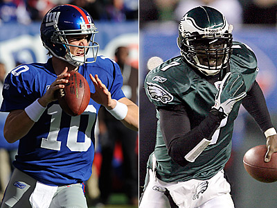 Eli Manning and Michael Vick will square off at the New Meadowlands Stadium tomorrow. (Staff/AP file photos)