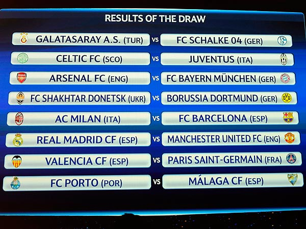 The draw for the UEFA Champions League was completed Thursday morning. (Laurent Gillieron/Keystone/AP)