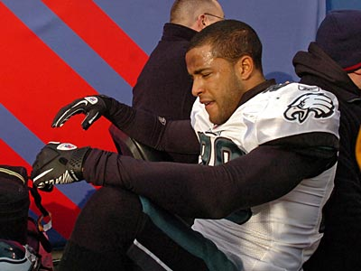 Eagles rookie safety Nate Allen is carted off the field after suffering an injury against the Giants. (Clem Murray / Staff Photographer)