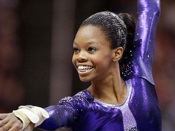 <br />Gabby Douglas performs in the floor exercise during the final round of<br />the women&acute;s Olympic gymnastics trials, Sunday, July 1, 2012, in San<br />Jose, Calif. Douglas was named to the U.S. Olympic gymnastics team. <br />(AP Photo/Jae C. Hong)