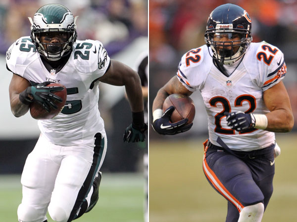 Eagles running back LeSean McCoy and Bears running back Matt Forte. (Yong Kim/Staff Photographer) (David Richard/AP)
