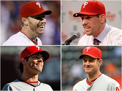 Roy Halladay, Cliff Lee, Cole Hamels and Roy Oswalt comprise what is considered the best rotation in the National League. (File photos)