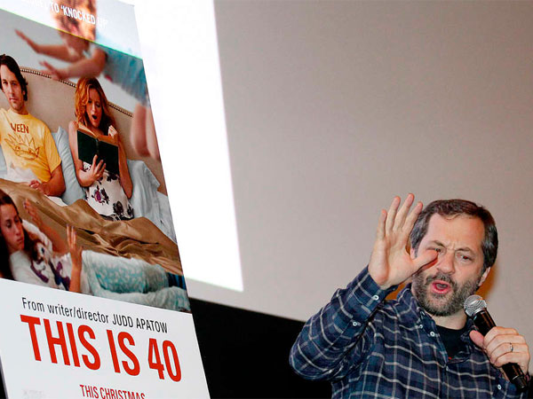 "Writer/director Judd Apatow at the Ritz Five last month during a Q&A session after the screening of ""This Is 40."" ""It´s fictionalized,"" he says, ""but in some ways it is our lives. Or how we look at life."" YONG KIM / Staff Photographer"
