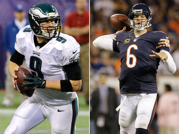 Eagles quarterback Nick Foles and Bears quarterback Jay Cutler. (Ann Heisenfelt/AP) (Nam Y. Huh/AP)