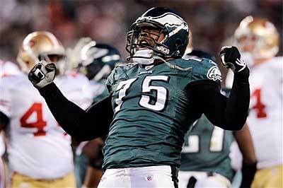 Eagles defensive end Juqua Parker had a strong game Sunday against the 49ers. (AP)