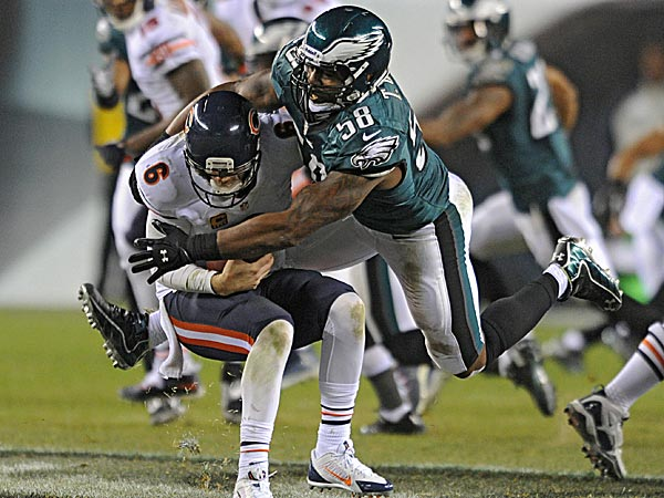 Eagles defensive lineman Trent Cole sacks Bears quarterback Jay Cutler during a game in 2013. (Clem Murray/Staff file photo)
