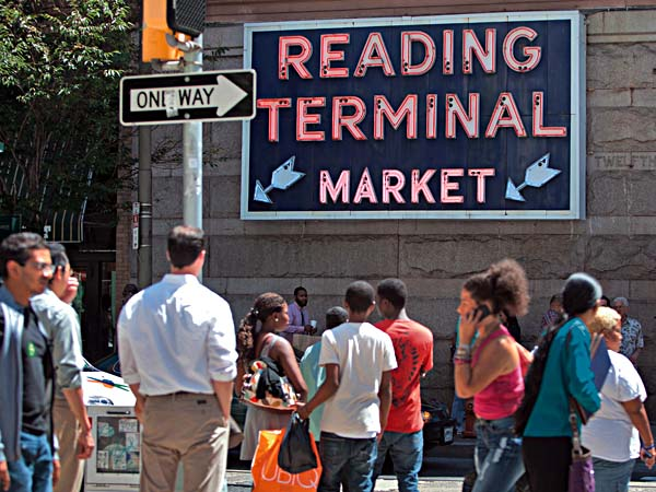 12th street signage for the Reading Terminal Market, July 27, 2011.  ( David M Warren / Staff Photographer )