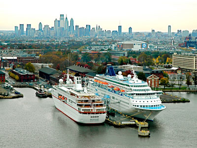 The Philadelphia Cruise terminal hosted both the Peter Deilmann Cruise Line´s MS Deutschland (left) and the Norwegian Cruise Line´s Norwegian Majesty in October. (Delaware River Port Authority)