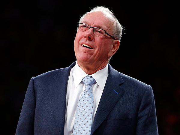 Jim Boeheim strikes a trademark pose during Saturday´s Temple-Syracuse game. (Jason DeCrow/AP)