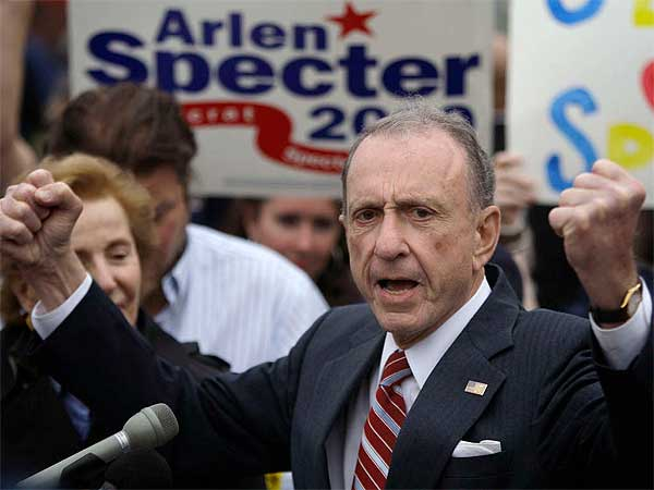 Arlen Specter campaigns at Citizens Bank Park as he runs for re-election in the Democratic primary in 2010. (AP File Photo)