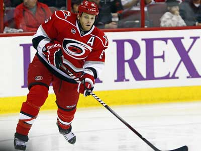 Carolina´s Tim Gleason has been a name that has popped up recently for a potential target for the Flyers.  (AP Photo/Karl B DeBlaker)