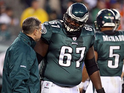Eagles center Jamaal Jackson has a torn ACL and will miss the remainder of the season, coach Andy Reid announced today. (Yong Kim/Staff Photographer)