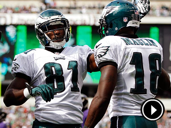 In this Sept. 16, 2012, file photo, Philadelphia Eagles wide<br />receiver Jason Avant (81) congratulates wide receiver Jeremy Maclin<br />(18) on his touchdown in the second half of an NFL football game<br />against the Baltimore Ravens in Philadelphia. Avant has managed to<br />take a childhood path that was riddled with gangs, drugs and violence<br />and turn it into becoming one of the most well-respected players in<br />the NFL. (AP Photo/Mel Evans, File)
