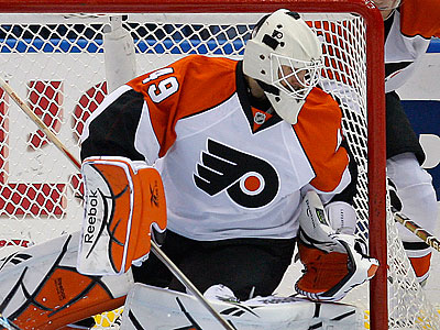 """Leights has played very well,"" Flyers coach Peter Laviolette said of Michael Leighton. (Kathy Willens/AP)"