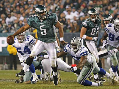 Donovan McNabb threw for 227 yards, a touchdown and two interceptions against Dallas in November. (Ron Cortes/Staff Photographer)