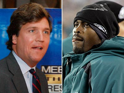 Tucker Carlson (left) has suggested Michael Vick should have been executed for his crimes. (Staff and AP Photos)