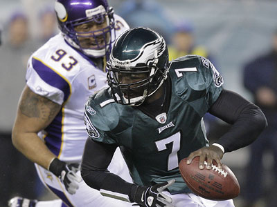 When asked if he was 100 percent, Michael Vick said he was ´getting there.´ (Yong Kim/Staff Photographer)