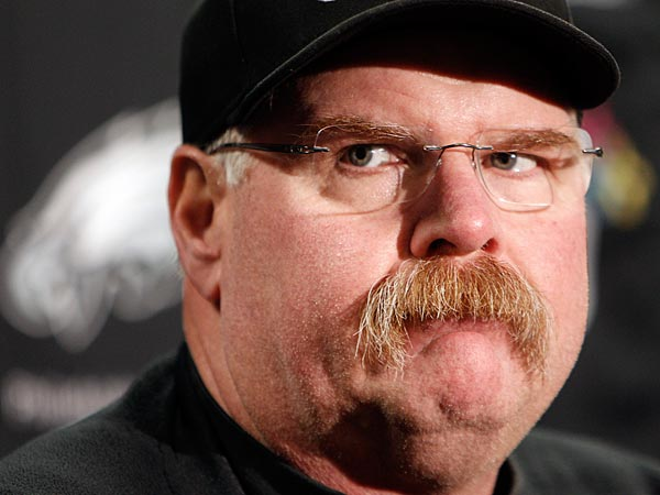 The Eagles´ head coach Andy Reid listens to a reporter´s question during the press conference. (David Maialetti/Staff Photographer)