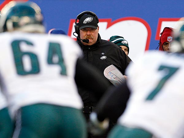 Eagles Head Coach Andy Reid watches his offense during the second<br />quarter. (Yong Kim/Staff Photographer)