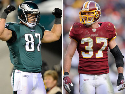 Brent Celek and the Eagles close out their season at home against Reed Doughty and the Redskins. (AP Photos)