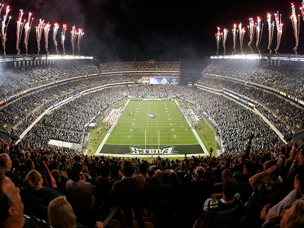 Fireworks light up Lincoln Financial Field before an Eagles game. (AP Photo/Julio Cortez)