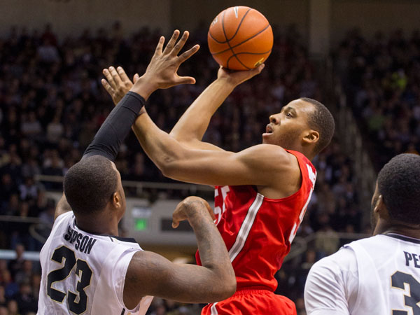 Ohio State´s Trey McDonald (55) puts up a shot over Purdue´s Jay Simpson (23) in the first half of an NCAA college basketball game, Saturday, Dec. 31, 2013, in West Lafayette, Ind. (Doug McSchooler/AP)