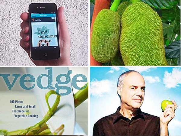 Clockwise from upper left: Internet-based options for finding vegan food; jackfruit; Mark Bittman; The Vedge Cookbook.
