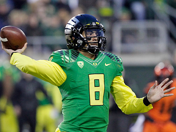 Oregon quarterback Marcus Mariota. (AP Photo/Don Ryan)