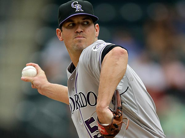 Colorado Rockies starting pitcher Jeff Manship delivers. (AP Photo/Kathy Willens)
