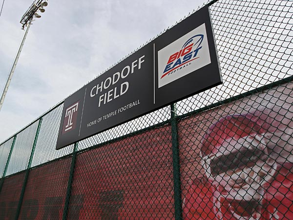 The sign that denotes the Temple practice field as Chodoff Field. (Michael Bryant/Staff Photographer)