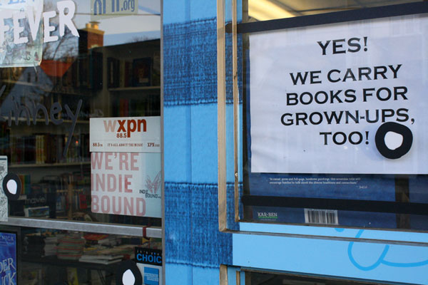 "After getting more inquiries from customers about adult book titles, a sign at Haverford´s Children´s Book World lets passersby know the store carries ""books for grown-ups, too."""