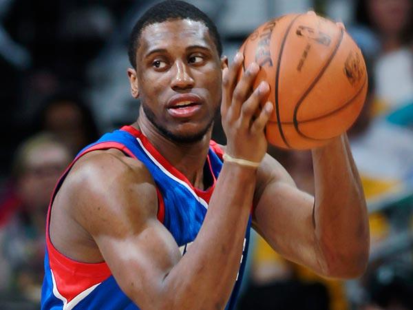 Thaddeus Young looks to pass the ball. (AP Photo/David Zalubowski)