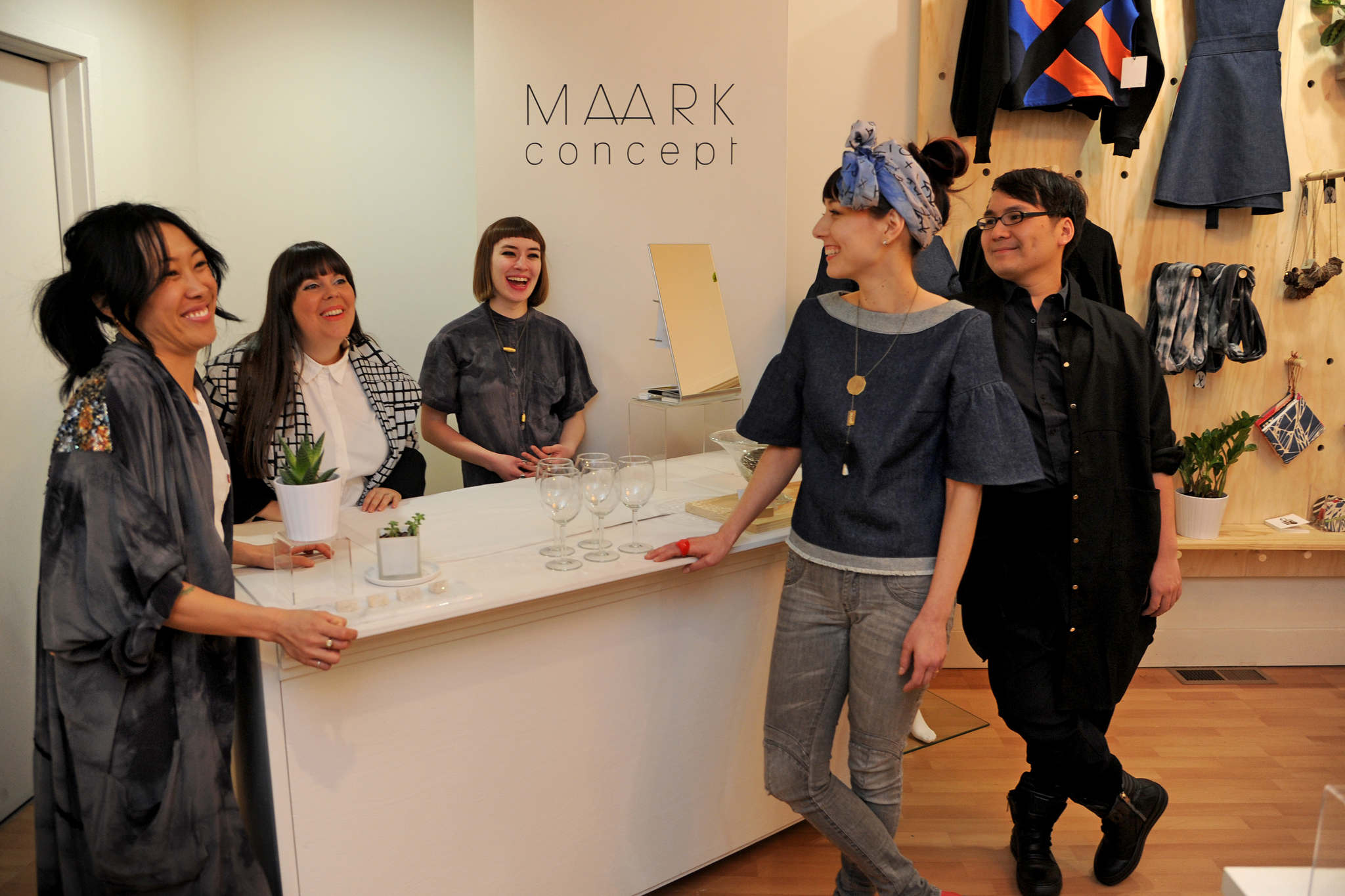 Maark Concept designers (from left) Pia Panaligan, Nicole Haddad, Samantha Connors, Melissa Choi, and Ethan Nguyen. TOM GRALISH / Staff Photographer