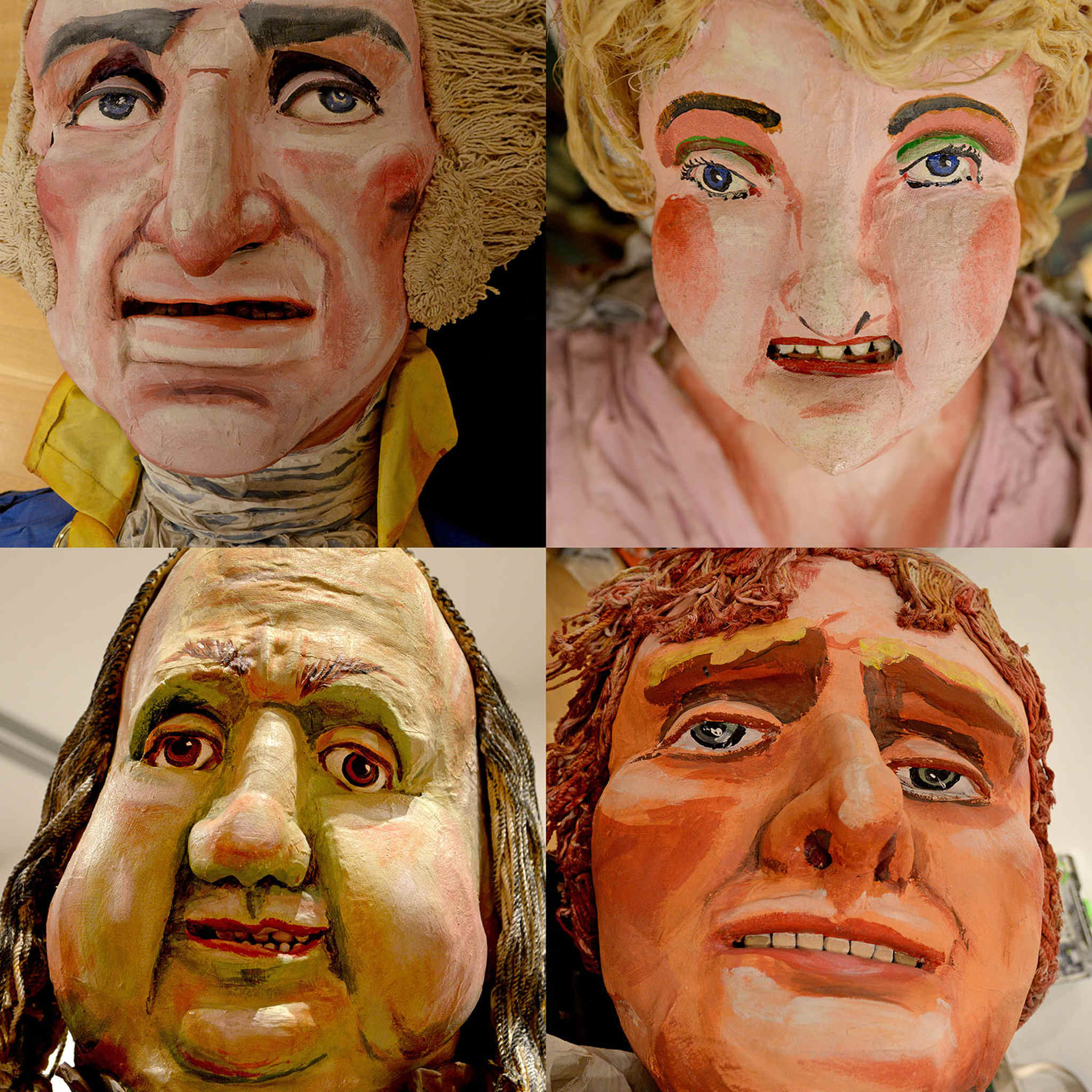 A team of five or six people had been working for two months to bring the scene back to life. The individuals, clockwise from top, left: George Washington, Martha Washington, Thomas Jefferson and Benjamin Franklin.