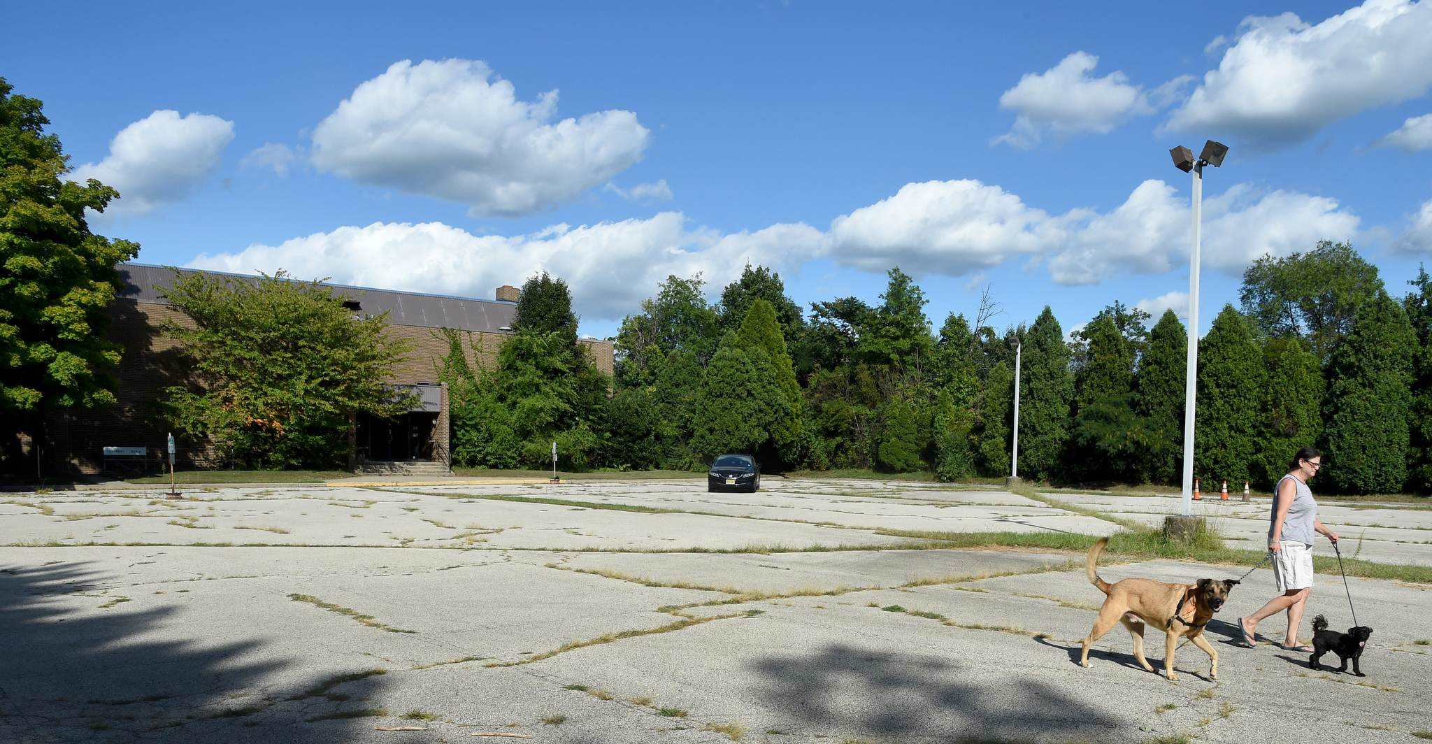 A homeowner whose home is adjacent to the vacant Masonic lodge walks her dogs in the parking lot. She attended the Tuesday township planning board meeting to learn more about a proposed drug and alcohol rehab center for the site.