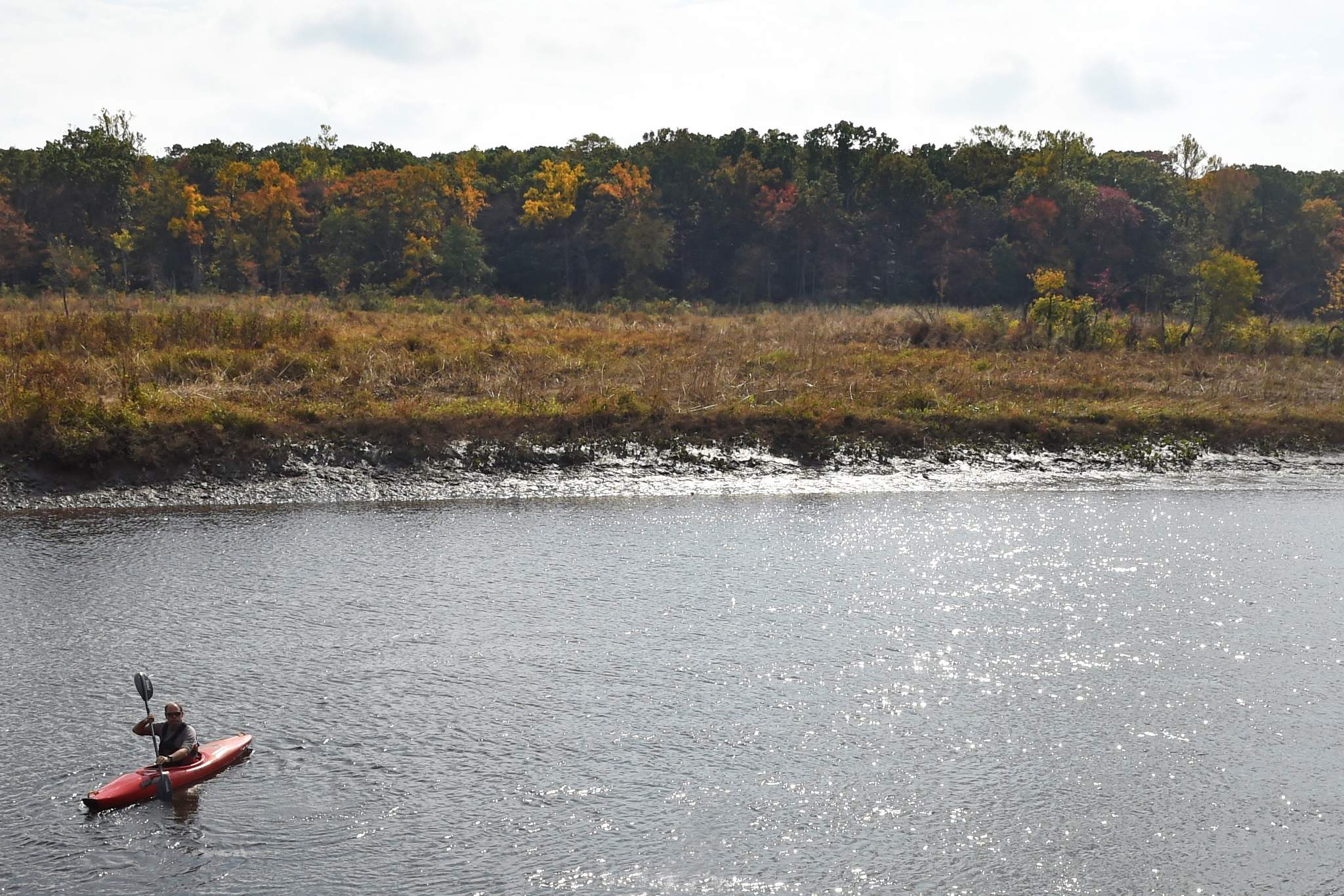 """Kayaker John Anderson on the Rancocas. Rancocas Creek is """"is a common resource we can all enjoy,"""" he says."""