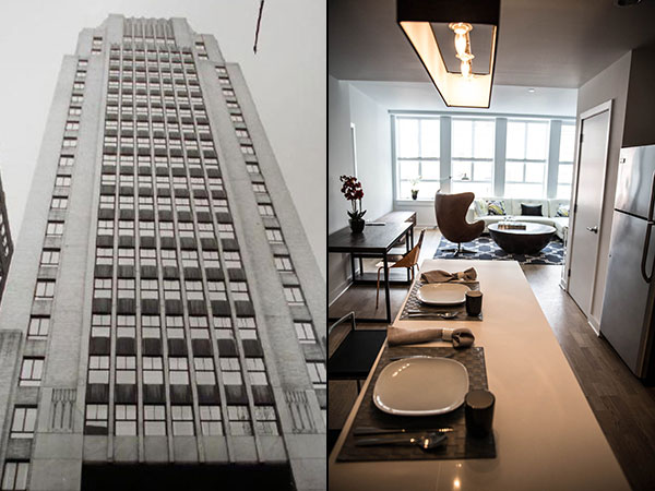 At left, an exterior photo of 1616 Walnut Street in its early days. Right, inside a 2-bedroom model apartment.