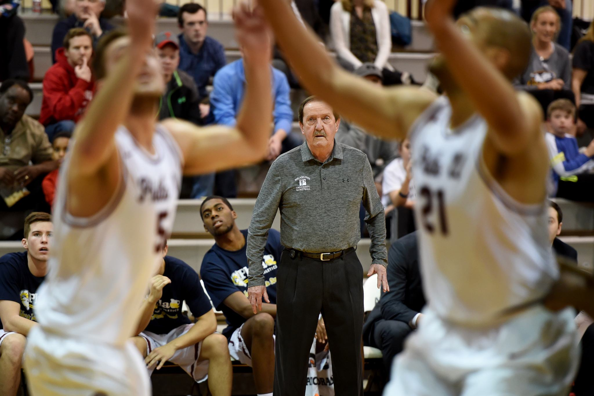 Herb Magee directs his team during Philadelphia University's final home game of the regular season. He has 1,052 wins in his 50 seasons.