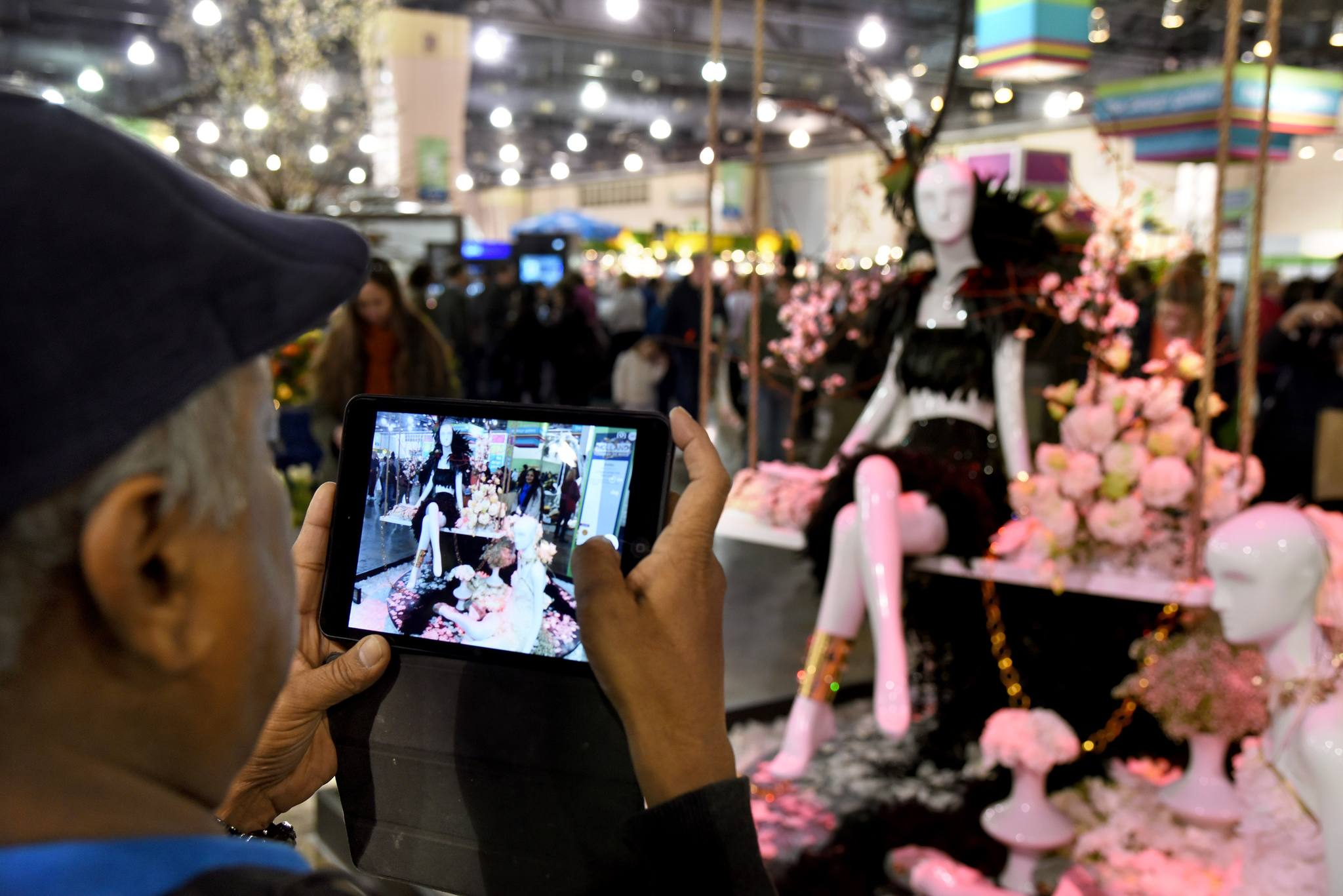 "Arvind Muratka of Ardmore photographs his wife Neeta in front of the exhibit by Dahlia Florals of Pennington, N.J. The exhibit, titled, ""A Night Under the Red Light,"" says that ""Holland is known for it flowers, windmills, wooden shoes and its secret night under the red lights…"""