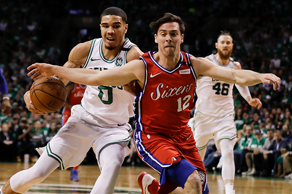The Sixers play the Boston Celtics in game one of the Eastern Conference semifinals on Monday, April 30, 2018 in Boston.  YONG KIM / Staff Photographer