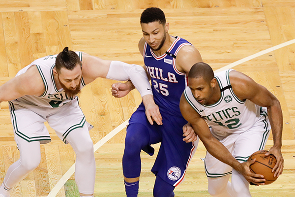 <br />The Sixers play the Boston Celtics in game two of the Eastern Conference semifinals on Thursday, May 3, 2018 in Boston.  YONG KIM / Staff Photographer