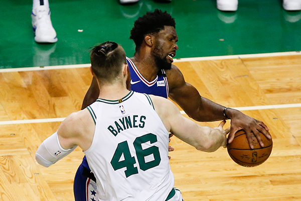 The Sixers play the Boston Celtics in game five of the Eastern Conference semifinals on Wednesday, May 9, 2018 in Boston.  YONG KIM / Staff Photographer