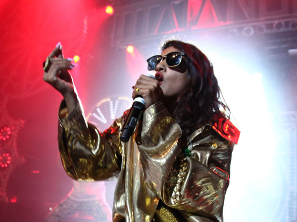 """M.I.A. performs in celebration of her new album """"Matangi"""" at Terminal 5 on November 1, 2013 in New York City."""